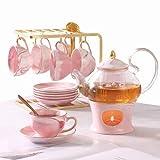 DUJUST 21 pcs Small Tea Set of 6, Pink Marble Texture with Handcraft Golden Trim, Fine Porcelain Tea pot Set for Girls&Women, 1 Glass Teapot(22oz), 6 Cups(4oz), 6 Saucers, 6 Spoons, 1 Shelf&1 Warmer