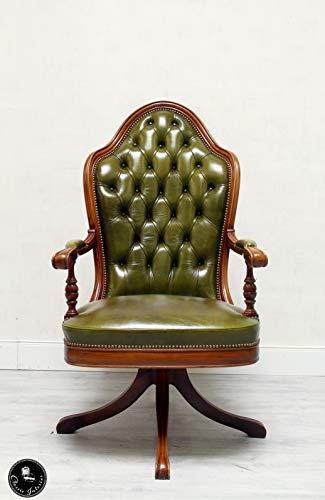 Classic Interior Chesterfield Bürostuhl Stuhl Englisch Chippendale Antik Leder