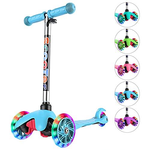 WeSkate Bambini Toddlers Monopattino Scooter 3 ruote regolabili Mini tricicli per bambini con luci a LED lampeggianti Monopattini per ragazzi e ragazze 3-8 anni