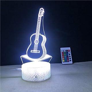 Lámpara de ilusión 3D para guitarra LED, luz nocturna, 7 colores intermitentes, decoración de dormitorio, regalo, lámpara de noche decorativa, luz nocturna creativa regalo