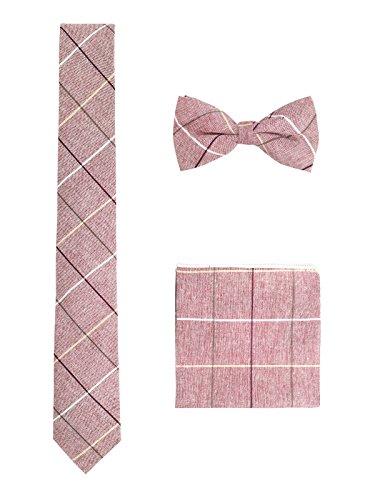 Hombre Algodón Casual 3 en 1 Set - Pajarita Clásica 6*12 cm & Corbata Estrecha 6 cm & Pañuelo del Bolsillo 22*?22 cm - Cuadros Rojo Claro