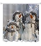 A.Monamour Niedliche Weiße Schneemann Familie Tragen Schal Wintersaison Weihnachten Urlaub Thema Grafikdruck wasserdichte Duschvorhänge 180X180 cm / 72X72 Zoll