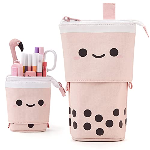 ANGOOBABY Standing Pencil Case Cute Telescopic Pen Holder Kawaii Stationery Pouch Makeup Cosmetics...