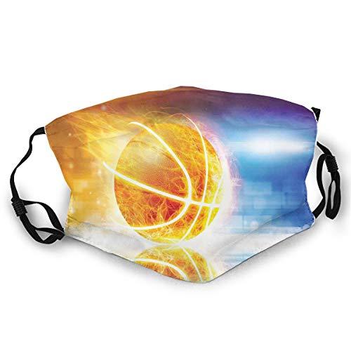 Usicapwear Mundschutz Atmungsaktive Gesichtsmundabdeckung Staubdichter,Abstract Sports Background Burning Basketball with Digital Reflection Art Print,Gesichtsdekorationen