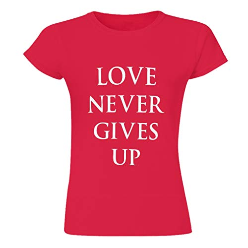 Camiseta Love Never Give Up 100% tela de algodón para mujer patrón de estilo europeo con sensación de luz regalo para amigas