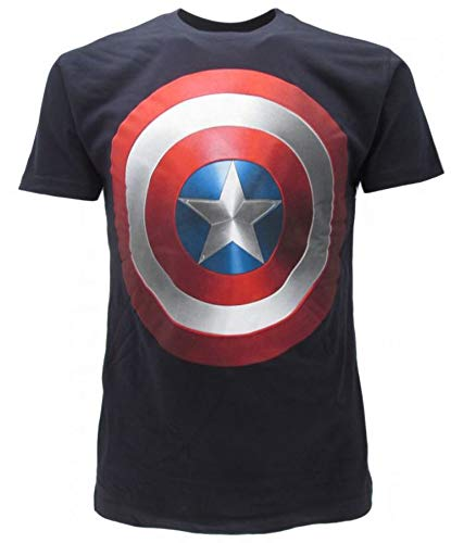 Captain America Avengers Marvel Eroe Comics T-Shirt mit Schild und T-Shirt aus der TV-Serie Film Play Station für Damen Herren Unisex Netflix CAPSCU.BN (XS)