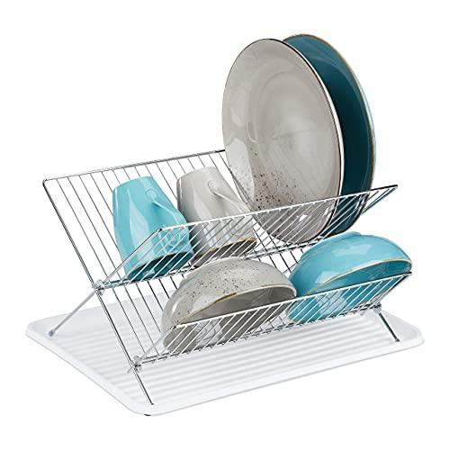 Relaxdays Abtropfgestell mit Auffangschale, Faltbarer Geschirrständer Küche, Abtropfgitter Kunststoff, Metall, weiß, 1 Stück, 10035807_49