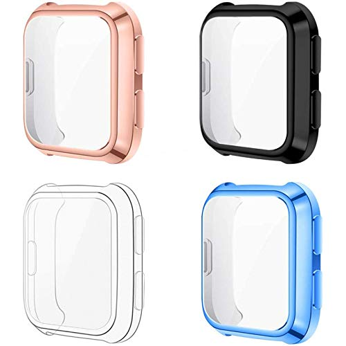 CAVN 4 Pack Screen Protector Case Compatible with Fitbit Versa/Versa SE Smartwatch, Soft TPU Plated Slim Full Coverage Screen Protective Bumper Cover (Black/Clear/Light Blue/Rose Gold)
