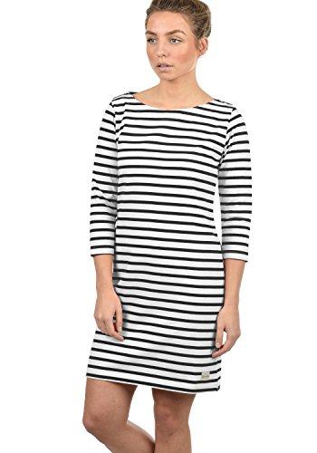 BlendShe Eni Damen Sweatkleid Sommerkleid Kleid Mit Streifen-Optik Und U-Boot-Kragen Aus 100% Baumwolle, Größe:XS, Farbe:Black (20100)