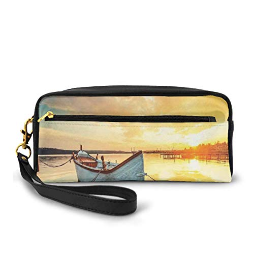 Pencil Case Pen Bag Pouch Stationary,Small Boat on The Water with Horizon and Overcast Dramatic Sky Harbor Home,Small Makeup Bag Coin Purse