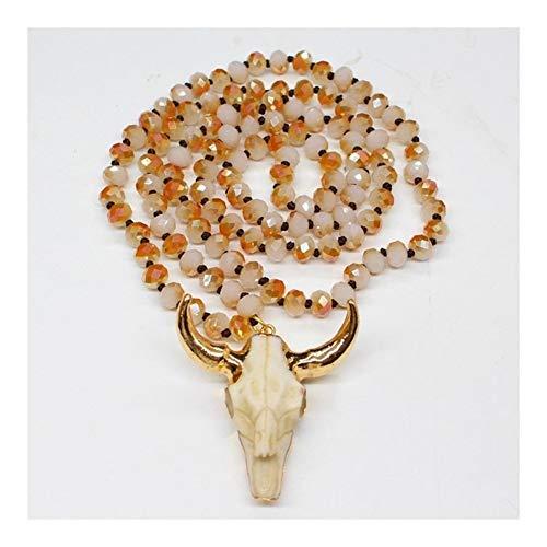 Présent Pendentif África étnica tribal hueso de vaca Bull Collar Cabeza amuleto pendiente larga for los hombres de las mujeres manera de los granos del suéter de la cadena de 90cm ( Metal Color : 2 )
