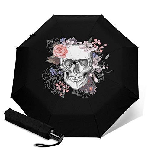 Sonnenschirm, Motiv: Totenkopf, automatisch, dreifach faltbar, Sonnenschirm.