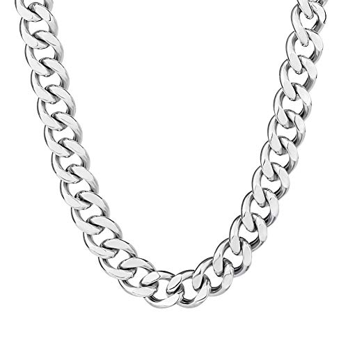 KRKC&CO Mens Hip Hop Jewelry, 12mm 18k Link Curb Chains and Bracelets, Solid No Tarnish Necklace, Durable Street-wear Hip Hop Chains for Men (Silver)