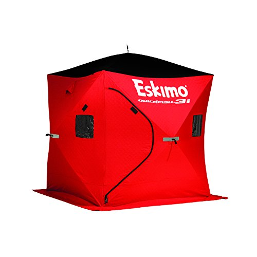 Eskimo 69445 QuickFish 3I Insulated Pop-Up Portable Ice Shelter, 3 Person, Red