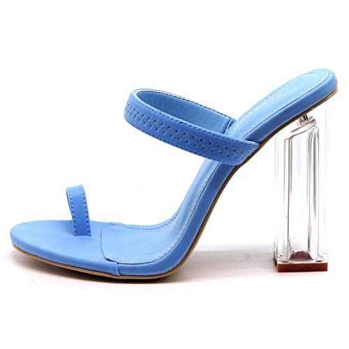 Cape Robbin Macaroon Clear Chunky Block High Heels for Women, Transparent Strappy Open Toe Shoes Heels for Women - Blue Size 6