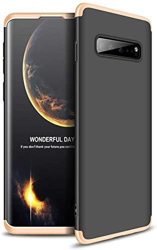 Capa Capinha Anti Impacto 360 Para Samsung Galaxy S10 Plus S10+ Tela De 6.4Polegadas Case Acrílica Fosca Acabamento Slim Macio - Danet (Preto com Dourado)