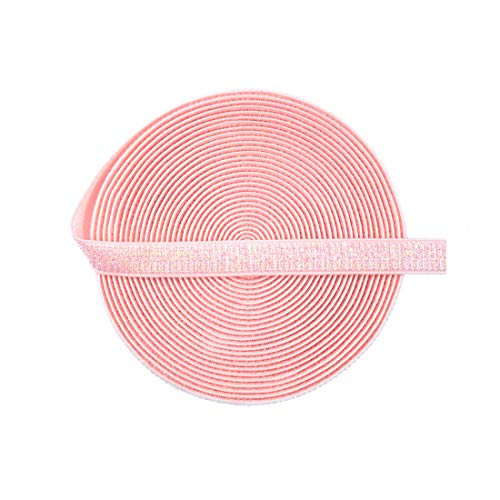 DIY PARK 5 Yard 3/8' 10mm Metallic Glitter Elastic Spandex Band Bra Strap Lingerie Dress DIY Sewing Trim Craft (Light Pink AB)