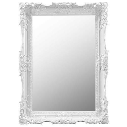Grand Miroir Mural Blanc très orné au Design Antique 94 cm x 68 cm