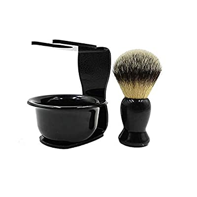 CINEEN 3 In 1 Shaving Brush Kit Hair Shaving Brush + Arcylic Razor Stand + Shaving Soap Bowl Shaving Cleaning Tool by CINEEN