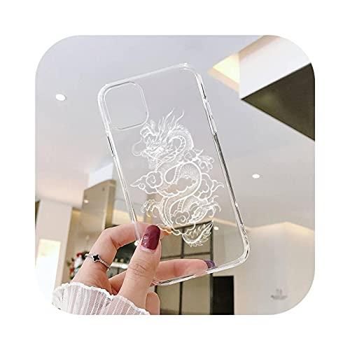Carcasa para iPhone 12, diseño de dragón animal, china, cultura de zapatos transparente para iPhone 6, 7, 8, 11, 12, S, Mini Pro X, XS y XR Max Plus se -A11-Iphone 8 Plus