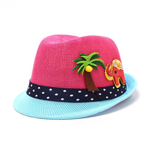 Bucket Hat Chapeau Chapeau De Paille De Noix De Coco Chapeaux D'Été pour Garçon Chapeaux De Panama pour Fille Activités De Plein Air Casquette De Plage 48-52 Cm Rosered
