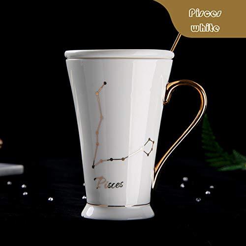 GFHTH Kaffeetassen 12 Sternbilder Becher Weiß Und Gold Porzellan Porzellan Kaffeemilch Becher Mit Edelstahl Löffel Keramik Tasse Goldener Henkel Fische Weiß