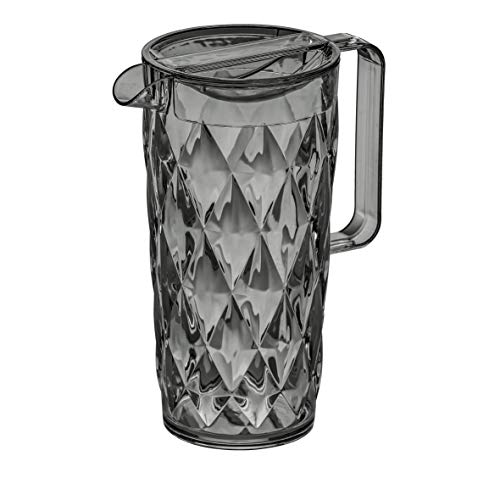 Koziol, Crystal, caraffa da 1,6l, plastica, Trasparente, 12x 18x 24,5cm, Antracite Trasparente, 12 x 18 x 24.5 cm