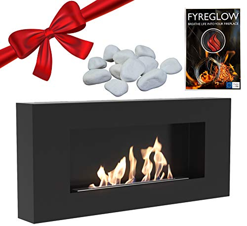 Chimenea de bioetanol de pared Delta Flat – Fyreglow Glow Flame Accesorios 1 g – Piedras Ecorativas 1 kg – Paquete