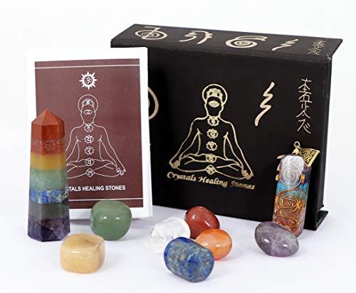 KACHVI Siete Chakra Piedras Naturales caídas Kit de curación de Cristal de 10 Piezas Meditación Regalos de Cristal Espiritual para Mujeres Reiki Chakra Orgon Colgante 7 Chakra Varita