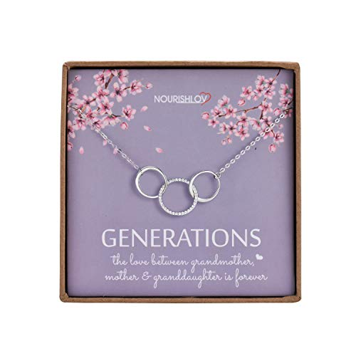 NOURISHLOV Generations Necklace - Sterling Silver 3 Circles Infinity CZ Necklace for Grandma Granddaughter Nana Mothers Day Jewelry Birthday Gift