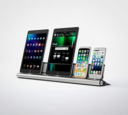 udoq 550 Ladestation für iPhone und iPad AirPods, hochwertiges Design 4mm Aluminium, Lightning Kabel, Silber