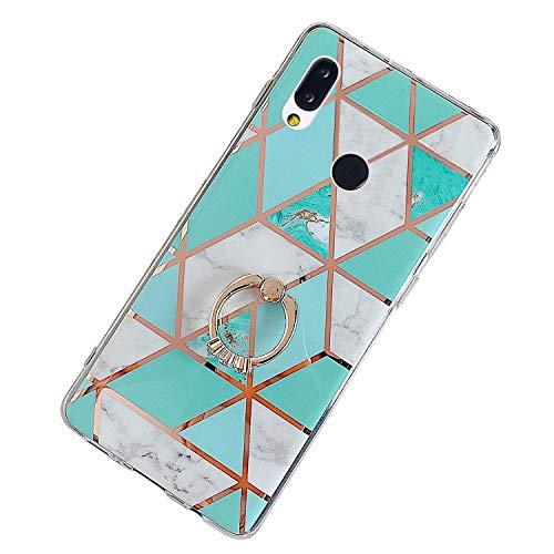 Herbests Kompatibel mit Huawei P20 Lite Hülle Bunt Marmor Muster TPU Silikon Handyhülle Glänzend Bling Glitzer Diamant Strass Ring Halter Ständer Crystal Case Tasche Schutzhülle,Grün