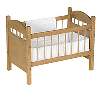 Amish-Made Wooden Deluxe Doll Crib Natural Harvest Finish