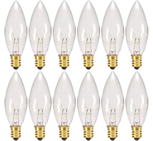 Creative Hobbies Replacement Light Bulbs for Electric Candle Lamps, Window Candles, & Chandeliers - 7 Watt Candelabra, Clear, Steady Burning, 120v 7w bulb - Pack of 12