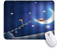 EILANNAマウスパッド 明るい月に梯子を踏んで漫画子供青い星空少年月の赤い家 ゲーミング オフィス最適 おしゃれ 防水 耐久性が良い 滑り止めゴム底 ゲーミングなど適用 用ノートブックコンピュータマウスマット