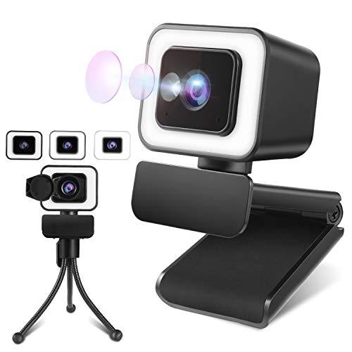 2K Webcam mit Mikrofon, Webcam mit licht, Facecam 100 °Weitwinkelobjektiv mit Abdeckung und Stativ, 360° Drehung Kompatibel mit Windows/Android/IOS/Linux für Lernen, Videokonferenz, Spielen