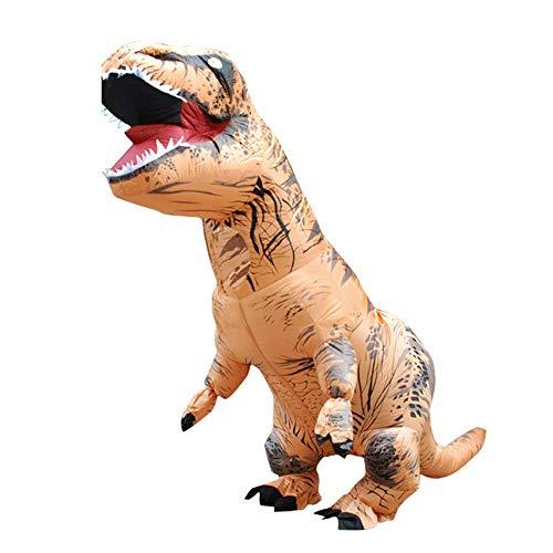 Halloween Erwachsene T-Rex Inflatable Dinosaur Costume aufblasbarer Dinosaurier Kostüm für Cosplay Kostüm Anzüge Party Geschenk (Braun)