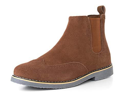 Alpine Swiss Mens Chelsea Boots Genuine Suede Dress Ankle Boots Wingtip Shoes Chestnut 9 M US