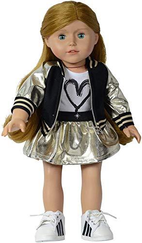 The New York Doll Collection D365 Bomberjacken-Set (Gold) für Fashion Girl Inklusive Reißverschlussjacke, T-Shirt und Rock – passend für alle 46 cm Puppen – Puppenkleidung – Puppenzubehör