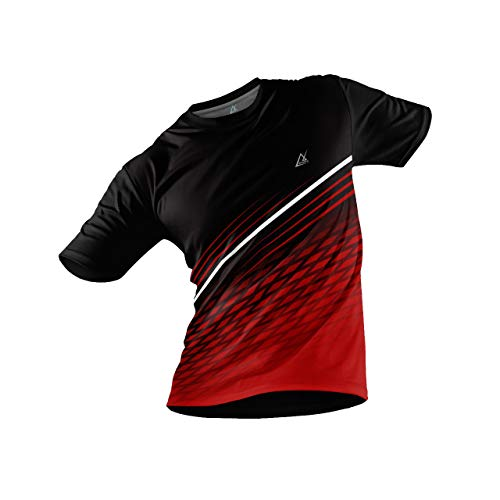 JJ TEES Polyester Half Sleeve Jersey with Round Collar and Digital Print All Over for Men (Size:M) (Color: Black and Cherry Red)