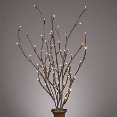 39  Brown Wrapped Willow Branches, with Timer, 2 Branches, and 60 Warm White LED Lights