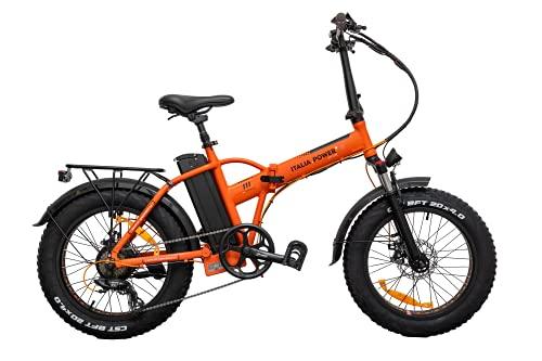 Italia Power E- Bike, Bicicletta elettrica Pieghevole Unisex Adulto, Arancio, M