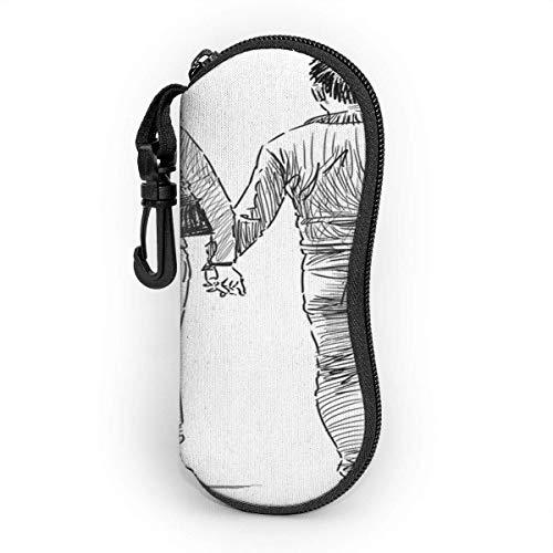 Funda de Gafas Volver Actividad Pareja En Fecha Adulto Dibujo Dibujado Emoción Ultra Ligero Neopreno Suaves viaje Estuche para Gafas de caso Bolsa con Clip de Cinturón