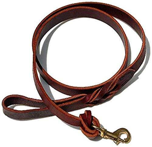 Signature K9 Knot Braided Heavy Leather Leash, 5-Feet x 7/8-Inch, Burgundy