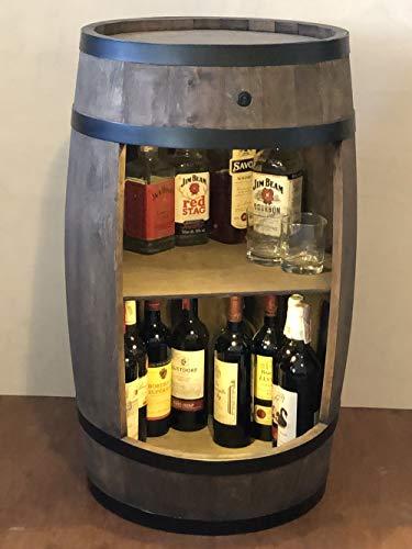 weeco Bar Schränk LED. Weinregal, Weinschrank im Retro Stil. Höhe 81cm. Fass mit Massivholz - 5