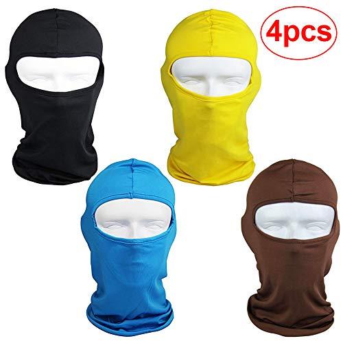 4PCS Yellow Ski Shileds for Mens Baclava Women Helmet Motorcycle, Kids Orange Hunting Hat, Bike Winter Helmet Cover, Running Face Cover, Full Ski Madk, Head Sock Under Helmet, for Sun Uv Protection