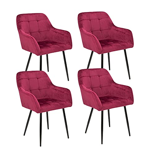 BlueOcean Furniture Set de 4 sillas de comedor de terciopelo de cocina moderna de mediados de siglo tapizadas para salón, salón o salón con tocador, cómodas sillas para dormitorio