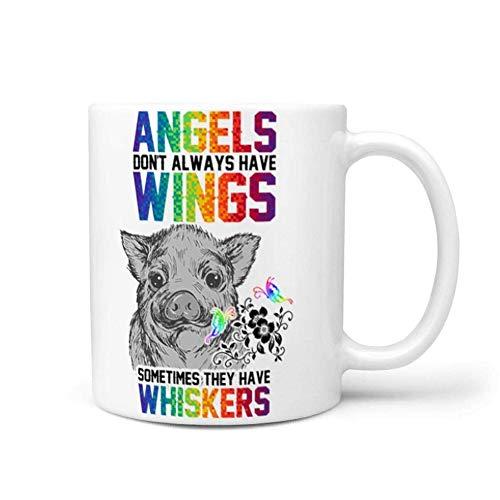Taza de café de cerámica con bigotes de alas de ángel de cerdo, taza de marca bonita con asa, regalos para el día de la madre, tazas divertidas y novedosas, regalo de 11 oz