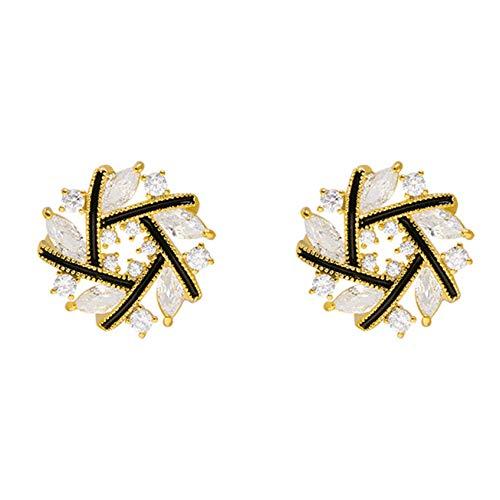 ZHDXW Pendientes de plata de ley elegantes de aleación de zinc con cristales de regalo para mujeres, pendientes de gota