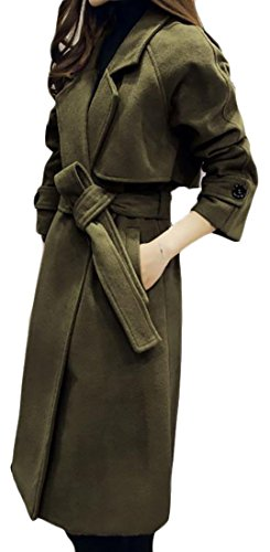 Pivaconis Womens Warm Single-Breasted Outdoor Winter Long Outerwear Pea Coat Army Green L